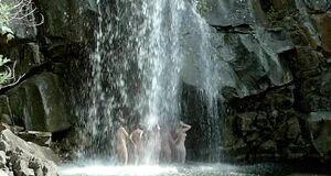 Голые Асмус, Кузнецова, Лебедева, Малахова и Микульчина под водопадом